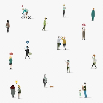 Physical distancing in public area social template vector