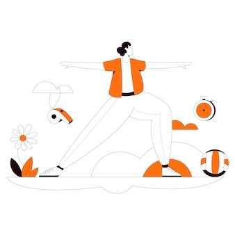 Physical education flat style illustration kit