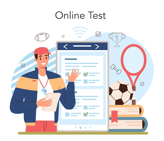 Physical education or school sport class online service or platform. american football and cheerleading club. students doing excercise. online test. flat vector illustration