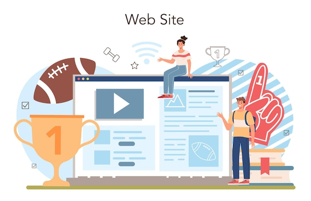 Physical education or school sport class online service or platform. american football and cheerleading club. students doing excercise. website. flat vector illustration