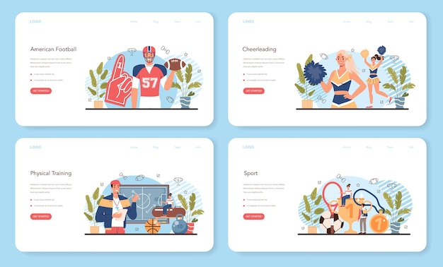 Physical education or school sport class web banner or landing page set.