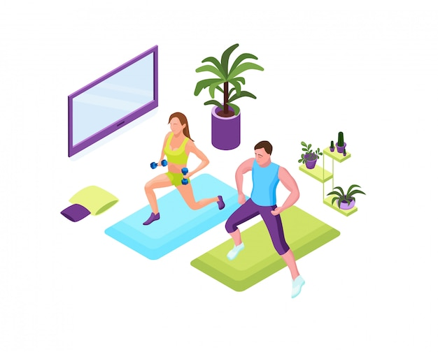 Physical fitness exercise, isometric 3d vector illustration