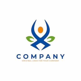 健康的な人間の概念と体力のロゴ