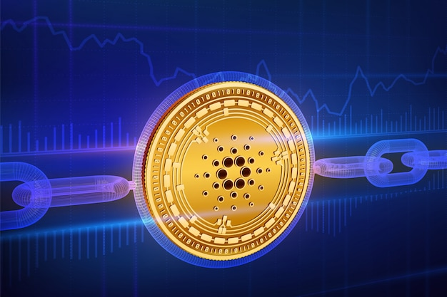 Physical golden cardano coin with wireframe chain. blockchain concept.