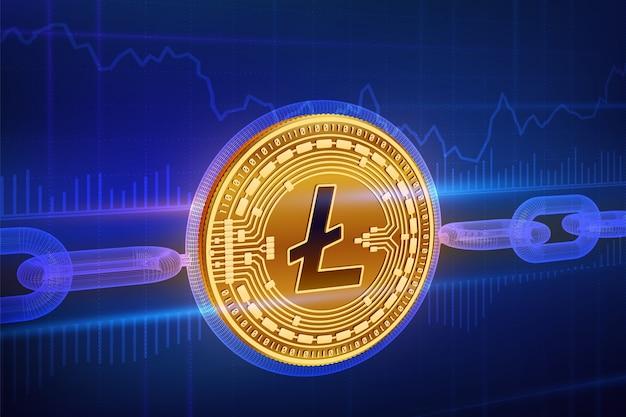 Физическая золотая монета litecoin с каркасной цепочкой. концепция блокчейна.