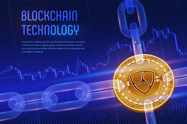 Physical golden nem coin with wireframe chain on blue financial background. blockchain concept.