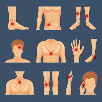 Телесное повреждение. части тела, плечи, травмы, боль, ноги, здоровый образ жизни, плоские символы. иллюстрация физических травм, травм, точек тела боли