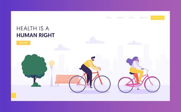실제 남성 및 여성 승마 자전거 방문 페이지. 건강한 라이프 스타일 야외 개념.