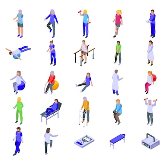 Physical therapist  set. isometric set of physical therapist   for web design isolated on white background