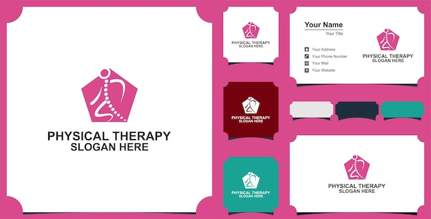 Physical therapy logo vector icon illustration collection and business card