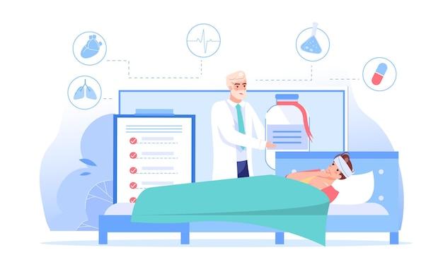 Персонаж-врач дает лекарства больному человеку из приложения на экране компьютера