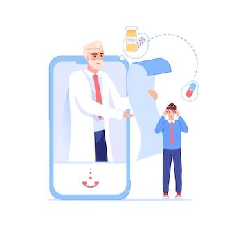 Персонаж врача читает рецепт больному из мобильного экрана приложения