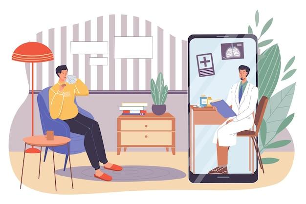 Врач изучает медицинскую карту больного вирусной инфекцией из мобильного приложения на экране