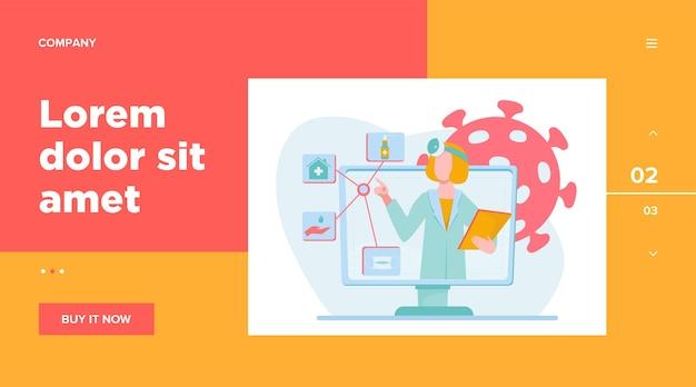 Врач дает рекомендацию на карантин. коронавирус, пандемия, маска. концепция медицины и здравоохранения для дизайна веб-сайта или целевой веб-страницы