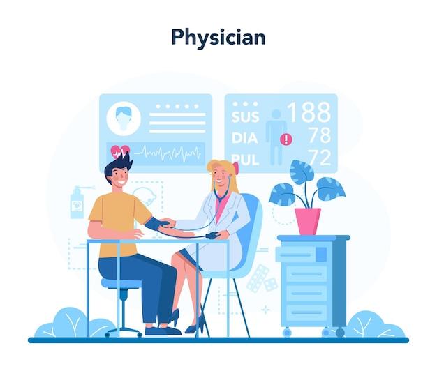 의사 또는 generel 의료 의사. 환자의 건강을 돌보는 의사의 아이디어.