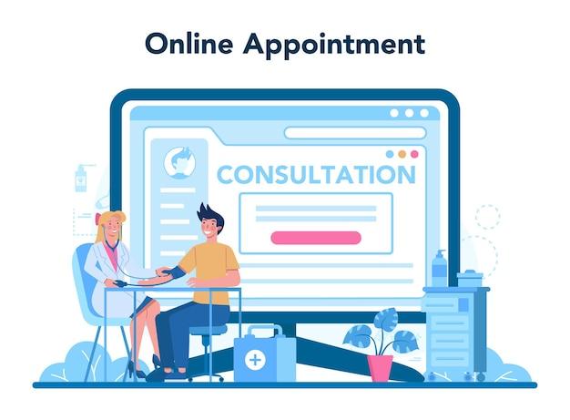의사 또는 generel 의료 의사 온라인 서비스 또는 플랫폼. 독감 치료 및 회복 아이디어. 온라인 예약.