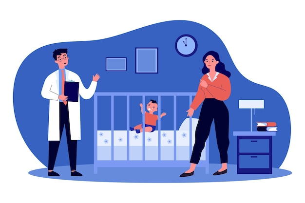 Physician treating little baby and talking with mom flat illustration