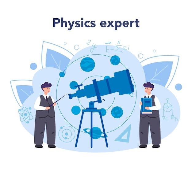 Концепция физика в плоском дизайне