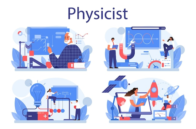 物理学者の概念セット。科学者は電気、磁気、光波を探求します
