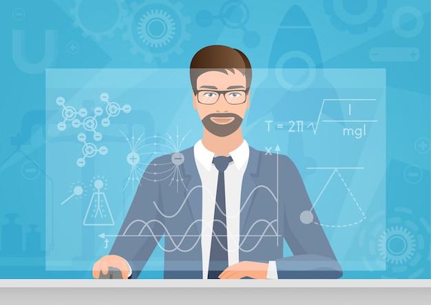 Physicist making graphs formula on virtual screen