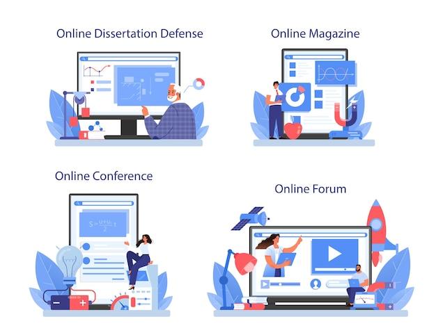 物理学者のオンラインサービスまたはプラットフォームセット。科学者は波と力を探求します。理論的および実践的な研究。オンラインフォーラム、雑誌、会議、論文防衛。孤立したベクトル図
