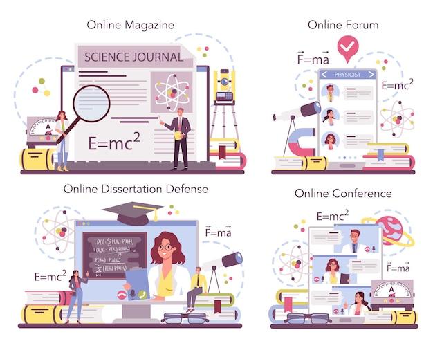 Physicist online service or platform set. scientist explore electricity, magnetism, light wave and forces.