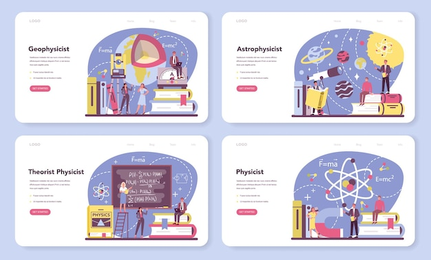Physicist web banner or landing page set.