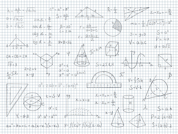 Физико-геометрические формулы и уравнения Premium векторы