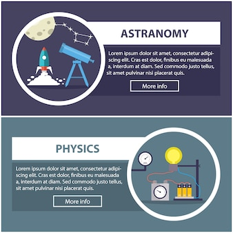 Physics and astronomy banners with the concept of scientific equipment
