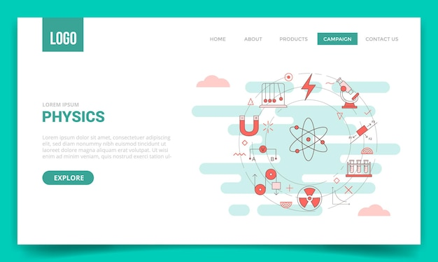 Концепция физики со значком круга для шаблона веб-сайта или иллюстрации стиля контура домашней страницы баннера целевой страницы