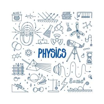 Каракули физики с телескопом с магнитной призмой и различными экспериментами рисованные предметы науки