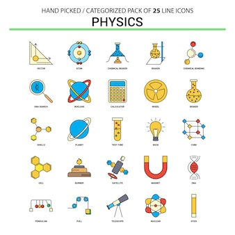 Physics flat line icon set