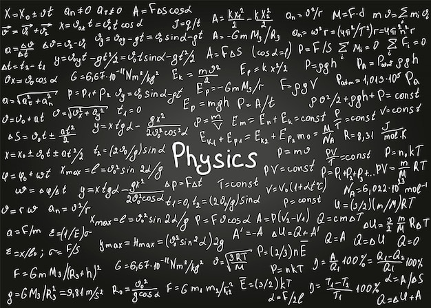 Physics formulas drawn by hand on the black chalkboard for the background.