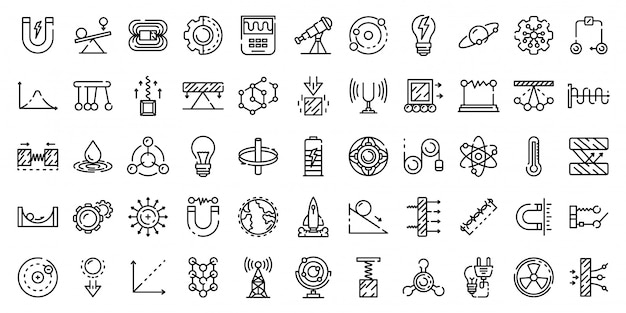 Physics icons set, outline style