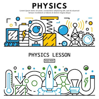 Physics lesson banner set, outline style