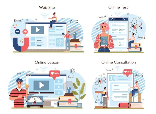 Physics school subject online service or platform set students explore