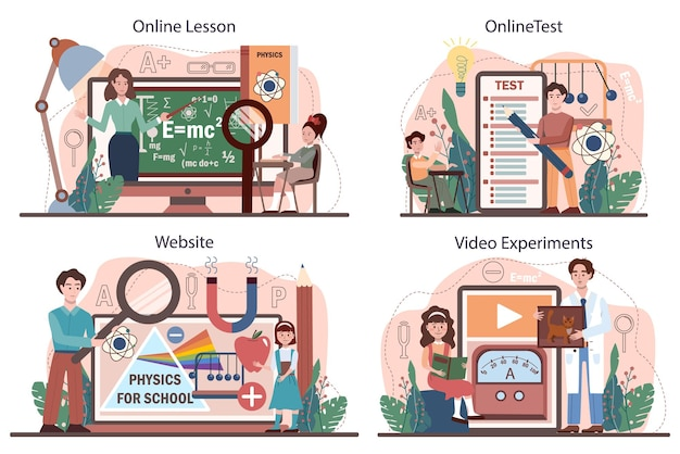 Physics school subject online service or platform set. students explore