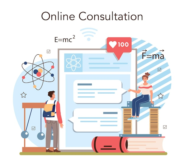 Physics school subject online service or platform. students explore electricity, magnetism, light wave and forces. online consultation. flat vector illustration