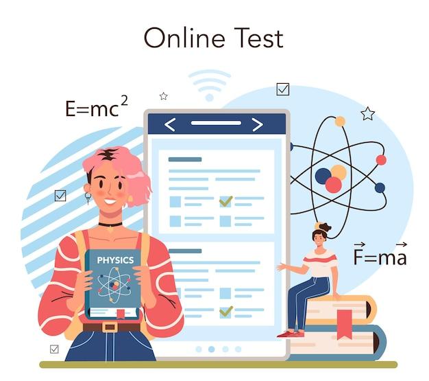 Physics school subject online service or platform. students explore