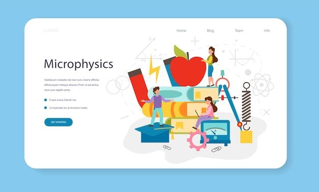 物理学の教科のウェブバナーまたはランディングページの科学者