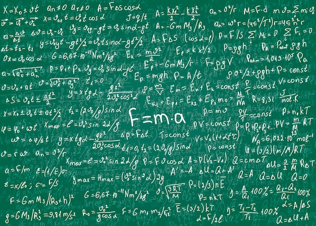 Physics white formulas drawn by hand on a green unclean chalkboard for the background. .