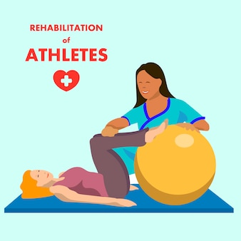 Физиотерапевтические упражнения на рекламном плакате fitball