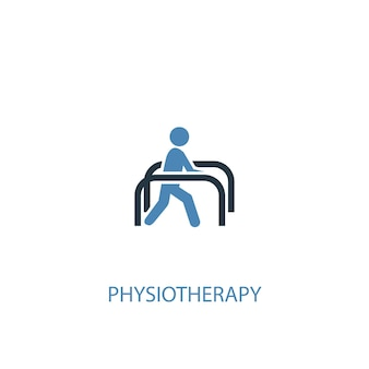 물리 치료 개념 2 컬러 아이콘입니다. 간단한 파란색 요소 그림입니다. 물리 치료 개념 기호 디자인입니다. 웹 및 모바일 ui/ux에 사용 가능