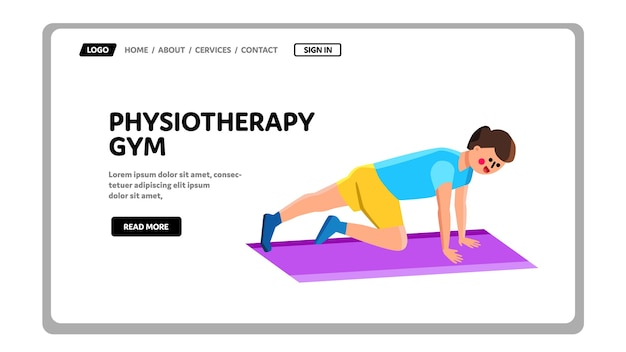 Physiotherapy gym exercising young man