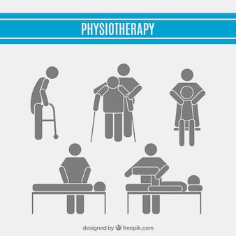 Physiotherapy pictograms set