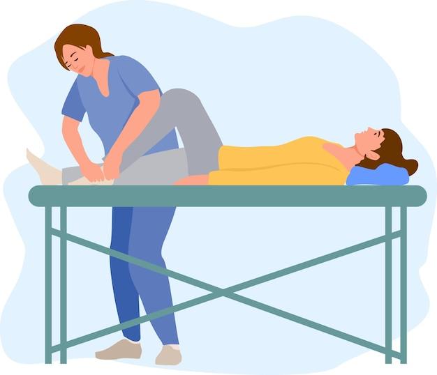 理学療法リハビリテーション支援ベクトルイラスト。負傷した足をマッサージする治癒治療を行うマッサージテーブルセラピストに横たわっている患者手動理学療法リハビリテーションの概念