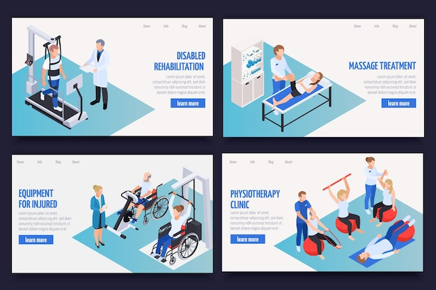 Physiotherapy rehabilitation clinic isometric webpage banners