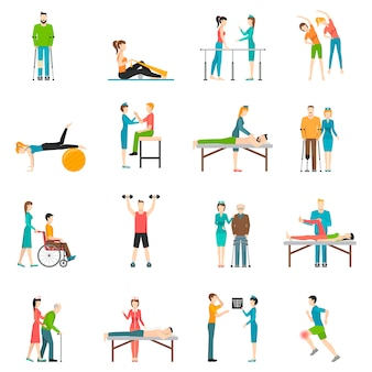 Physiotherapy rehabilitation color character set