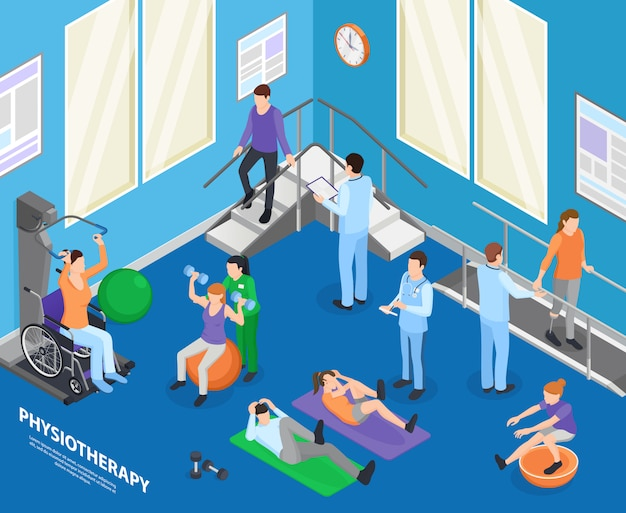 Physiotherapy rehabilitation facility clinic exercise hall speeding recovery physical activities with therapist session isometric composition illustration
