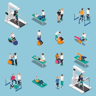 Physiotherapy rehabilitation isometric people set